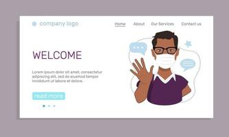 The concept of health safety. A landing page template with a young afro american man in a medical mask waving his hand in greeting. Cartoon vector illustration.