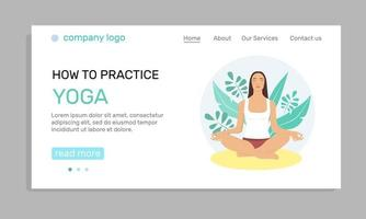 Young woman doing yoga in the park, landing page. Illustration of the concept of a healthy lifestyle, physical exercises, yoga classes. Flat-style illustration. vector