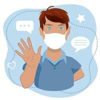 A man waving hand  greeting or saying goodbye in medical face mask  isolated on white background. Cartoon male character with welcoming gesture in medical face mask, vector illustration.