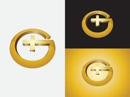 Initial letter G in circular shape with doctors plus sign in bright golden color logo vector