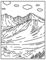 Wheeler Peak Located in Great Basin National Park in Nevada United States Mono Line or Monoline Black and White Line Art vector