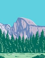 The Half Dome at the Eastern End of Yosemite Valley in Yosemite National Park California WPA Poster Art vector