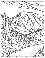 Mount Rainier in Mount Rainier National Park Located in Washington State United States Mono Line or Monoline Black and White Line Art vector