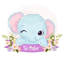 Baby elephant illustration in watercolor vector