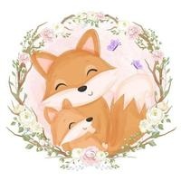 Cute mom and baby fox in watercolor illustration vector