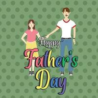 flat vector of a father holding his daughter. happy father's day poster background