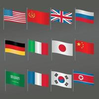 collection set of the 12 largest flagpoles of countries icon that have greatly influenced the world flat vector