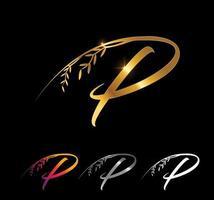 Golden Letter P Monogram Initial Sign vector