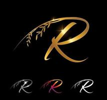 Golden Letter R Monogram Initial Sign vector