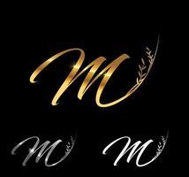 Golden Letter M Monogram Initial Sign vector