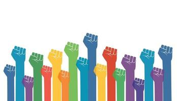 Group of fists raised in air. vector illustration