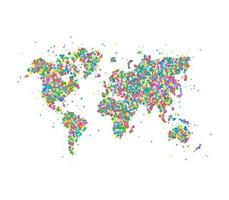 Icon map of the world of multicolored circles. Vector illustration.