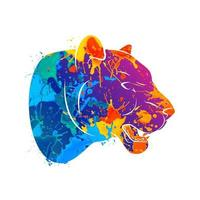 Abstract predatory big cat. Leopard from a splash of watercolors. Vector illustration of paints.