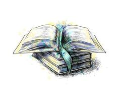 Stack of multi colored books and open book from a splash of watercolor, hand drawn sketch. Vector illustration of paints