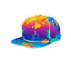 salpicaduras de gorra de béisbol abstracta de acuarelas. ilustración vectorial de pinturas. vector