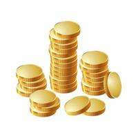 A stack of round gold coins. Vector illustration.