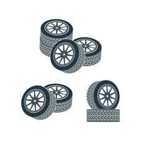 wheels with tires and wheels. Vector illustration.