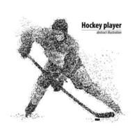 Abstract hockey player with the puck from the black circles. Vector illustration.Web