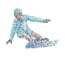 Abstract snowboarder from multicolored circles. Vector illustration.