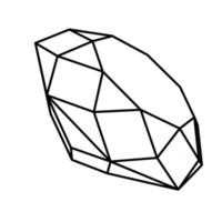 Diamond outline vector icon black and white in 3d view