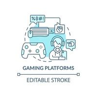 Gaming platforms concept icon. Cyberbullying channel idea thin line illustration. Harassing players with text messages. Post rude comments. Vector isolated outline RGB color drawing. Editable stroke