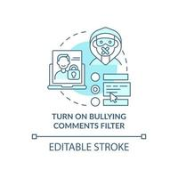 Turning on bullying comments filter concept icon. Cyberbullying prevention idea thin line illustration. Hiding harassing messages. Vector isolated outline RGB color drawing. Editable stroke