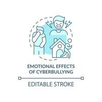 Emotional cyberbullying effects concept icon. Negative aftermaths idea thin line illustration. Being lonely, isolated. Adolescents behavior. Vector isolated outline RGB color drawing. Editable stroke