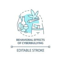 Behavioral cyberbullying effects concept icon. Negative aftermaths idea thin line illustration. Losing interest in life. Toxic behavior. Vector isolated outline RGB color drawing. Editable stroke