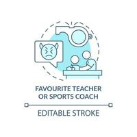 Favourite teacher and sports coach concept icon. Reporting cyberbullying idea thin line illustration. Talking with school psychologist. Vector isolated outline RGB color drawing. Editable stroke
