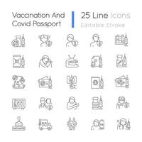 Vaccination and covid passport linear icons set. Vaccine distribution. Virus treatment for age groups. Customizable thin line contour symbols. Isolated vector outline illustrations. Editable stroke