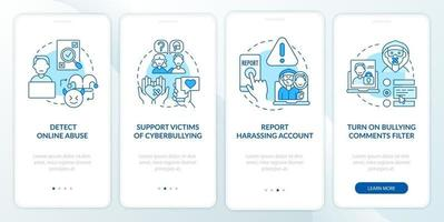 Cyberhumiliation prevention onboarding mobile app page screen with concepts. Cyber bully report walkthrough 4 steps graphic instructions. UI, UX, GUI vector template with linear color illustrations