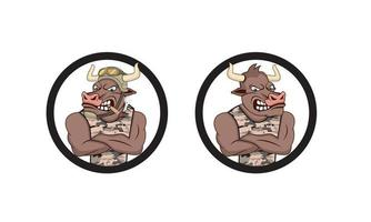 Bull army cartoon character design illustration vector eps format , suitable for your design needs, logo, illustration, animation, etc.