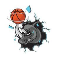 Rhino basketball with broken wall design illustration vector