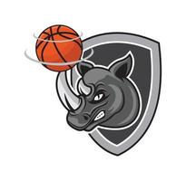Rhino basketball with shield design illustration vector eps format , suitable for your design needs, logo, illustration, animation, etc.