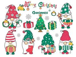 Merry Christmas Gnomes Designed in doodle style. It can be adapted to various applications such as backgrounds, invitation cards, digital print tshirt, design sticker, crafts, mugs DIY and more vector