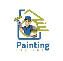 Painting company logo design illustration , suitable for your design needs, T-shirt, illustration, animation, etc. vector