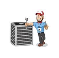 HVAC service cartoon character design illustration vector eps format , suitable for your design needs, logo, illustration, animation, etc.