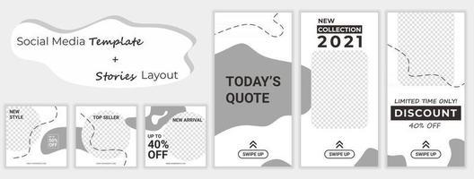 conjunto de diseño de plantillas de banners cuadrados editables para historias de redes sociales de venta de moda. Fondo de forma de color amarillo y blanco. gran promoción de venta. venta de descuento de publicidad de vector. vector