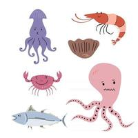 Seafood or sea animals elements isolated on white background. vector