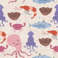 Seafood or sea animals pattern in scandinavian or childish style isolated on white background. vector