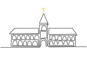 Big church continuous one line drawing vector minimalist design. Christian symbol sign isolated one white background.
