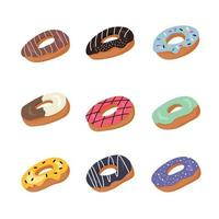 Sweet donuts flat element isolated on white background. vector