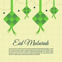 Eid mubarak background with big green ketupat. Eid mubarak greeting card in flat element style. vector