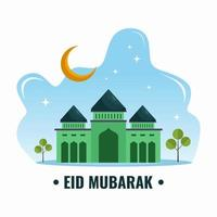 Eid mubarak background with half moon and green mosque. Eid mubarak greeting card with flat element style isolated on white background. vector