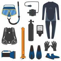 Set of diving tools for diving in flat element style isolated on white background. vector