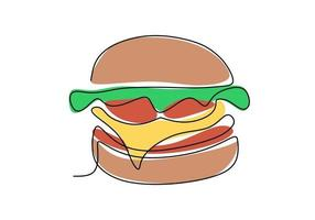 Single continuous line of Hamburger. Big burger fast food in one line style isolated on white background. vector