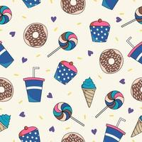 Seamless pattern background with blue fast food element isolated on white background. vector