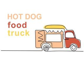 Single continuous line of hotdog food truck. Hotdog food truck in one line style isolated on white background. vector