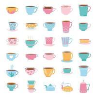 té y café linda vajilla de moda con decoración, hervidores y tazas para bebidas vector