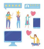 people rating and feedback computer smartphone social media network app vector